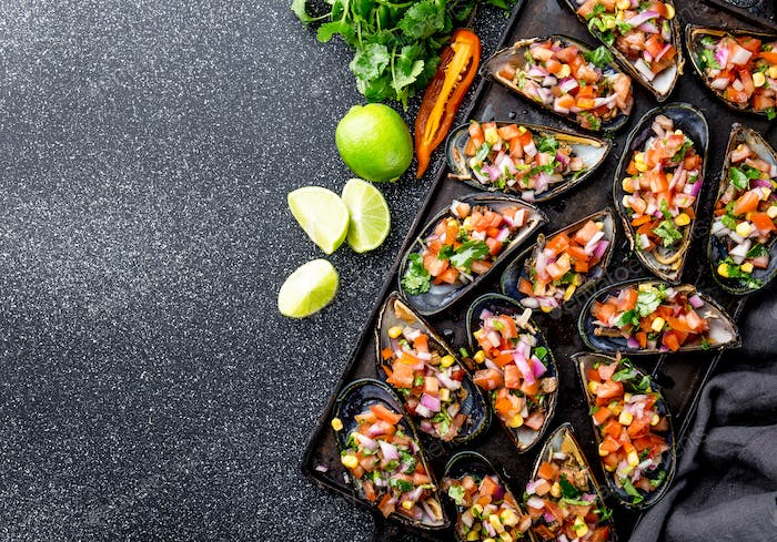 Peruvian Choros a La Chalaca. Mussels with Tomato, Onion and Cilantro Sauce. Copy Space