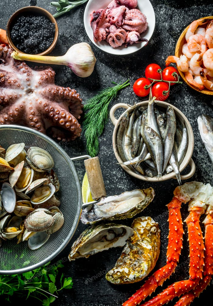A variety of delicious seafood.