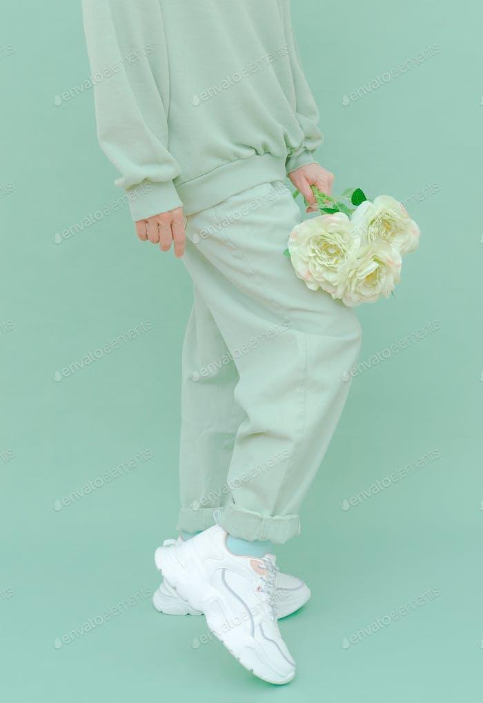 Roses fresh Mint fashion look. Monochrome color trends. Aqua Menthe aesthetic