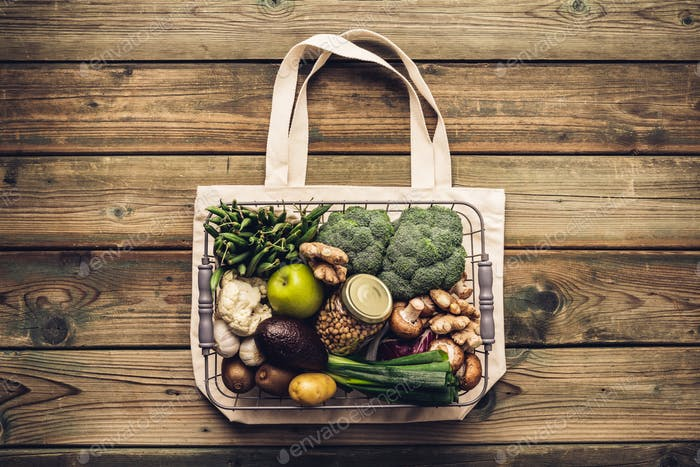 Eco friendly food shopping or cooking concept Plastic free lifestyle