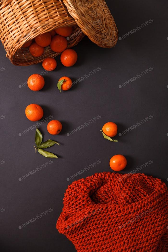 Closeup of knitting and mandarins