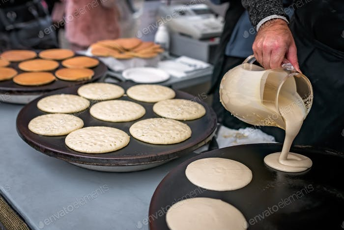 Preparing delicious pancakes