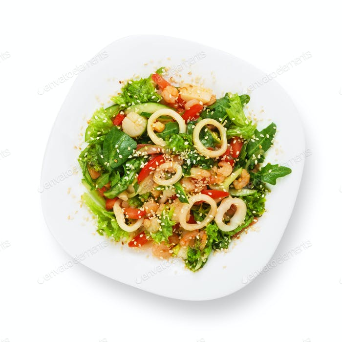 Restaurant food isolated - seafood salad with calamari rings