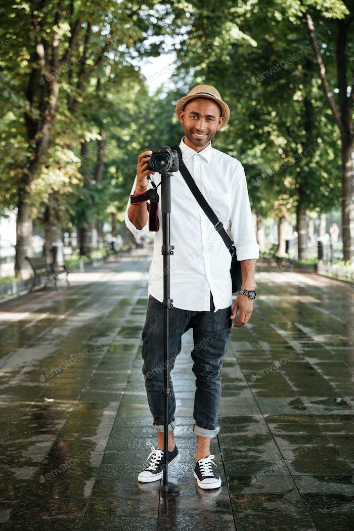 Full length portrait of black man in park