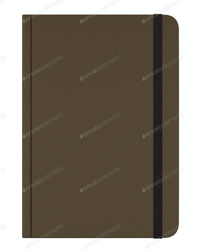 brown notebook isolated on white background. 3d illustration
