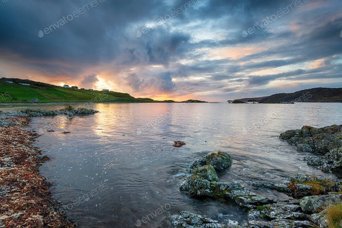 Sunset over Scourie Bay in the Highlands