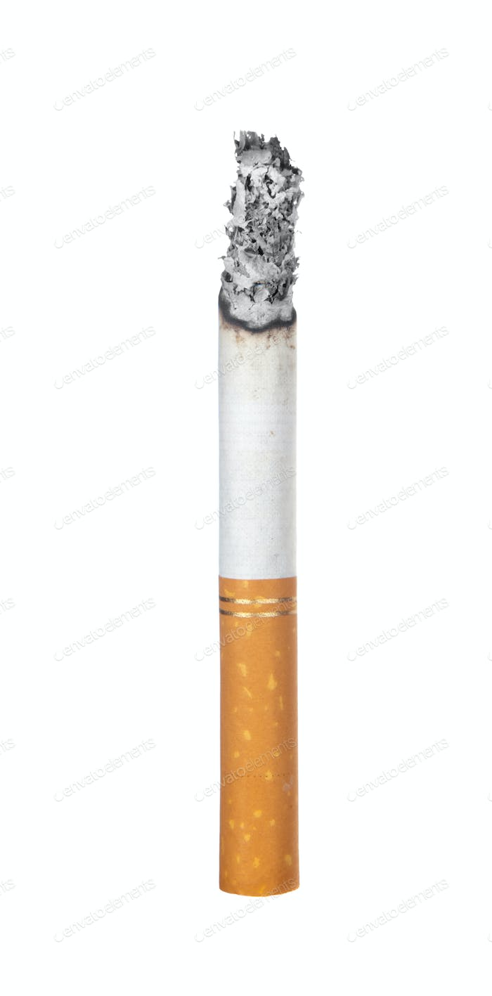 Burning cigarette isolated on white