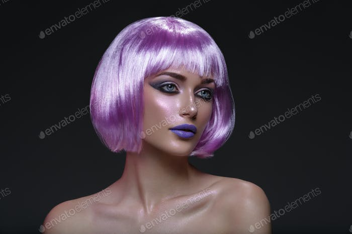 Beautiful girl in purple wig