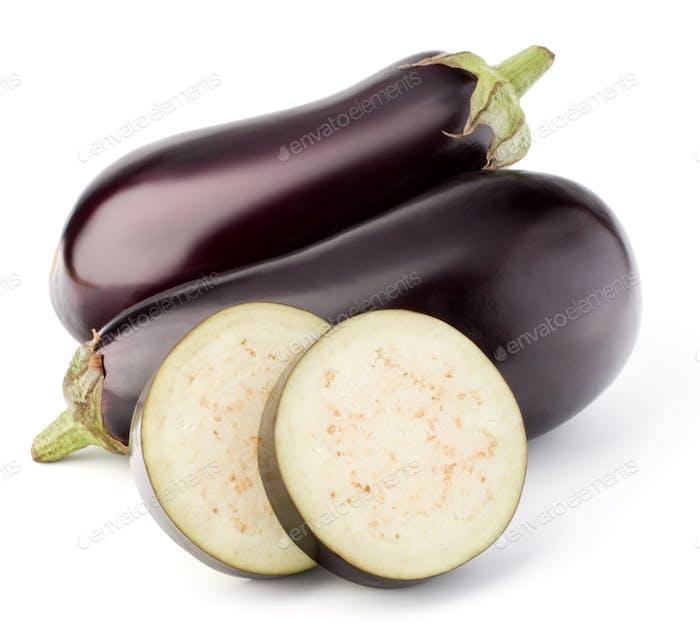 Aubergine oder Aubergine Gemüse isoliert auf weißem Hintergrund Ausschnitt