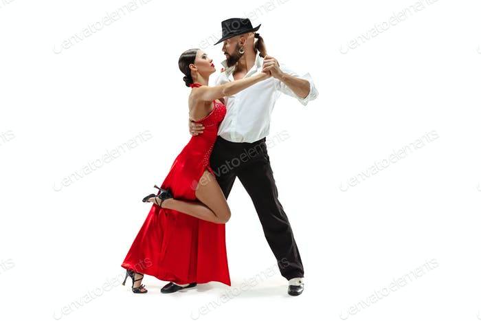 Porträt junger Eleganz Tango-Tänzer. Isoliert über weißem Hintergrund