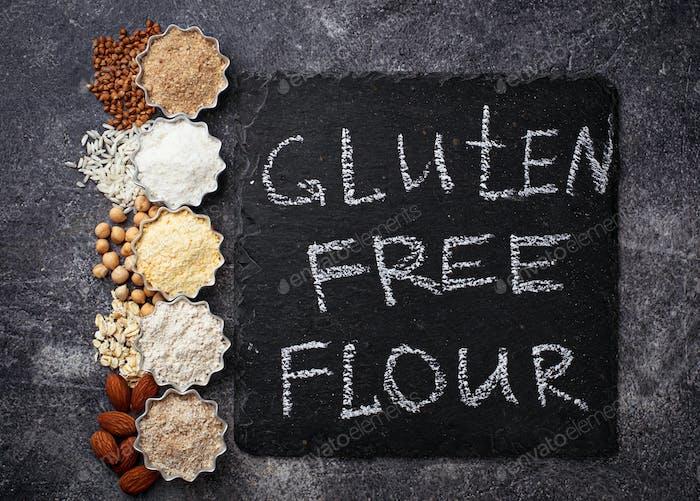 Selection of various gluten free flour