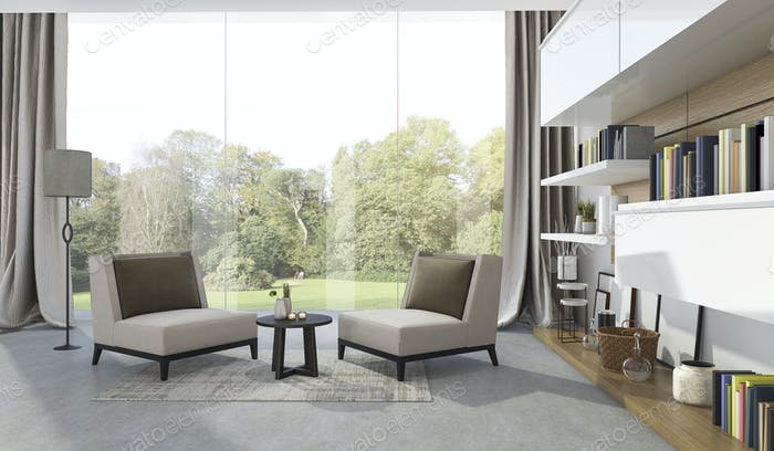 3d rendering soft armchair in living room near garden