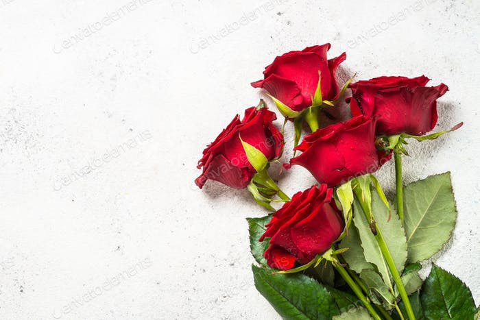 Red roses flower bouquet on white background top view