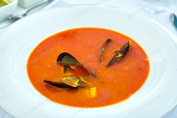 Plate of mussel soup