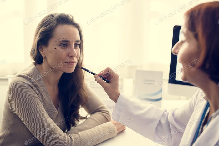 Woman planning to have a plastic surgery
