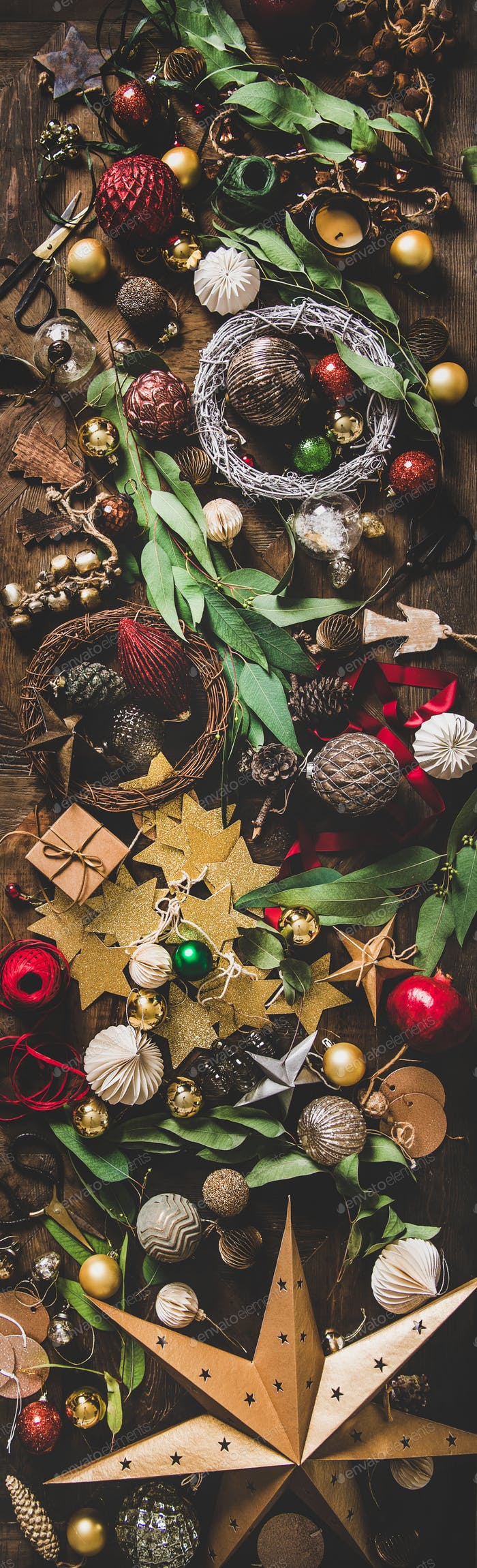 Christmas, New Year holiday decoration layout background, narrow composition