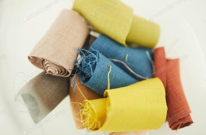 Colored scraps of fabric