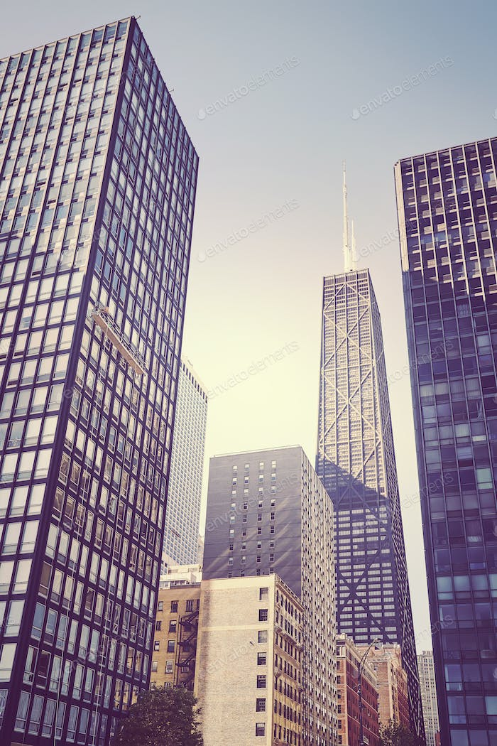 Retro toned photo of skyscrapers in Chicago city downtown, USA