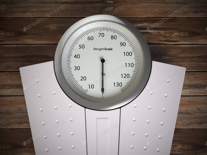 Analog weight scale on wood floor.
