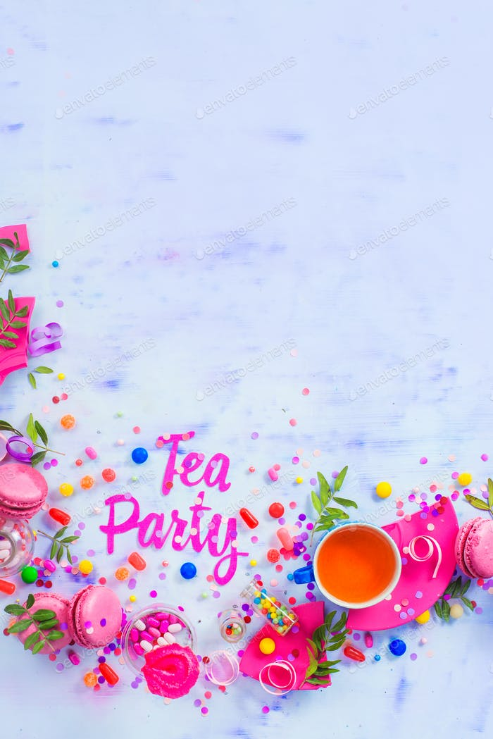 Tea party concept with paper text, candies, sweets, confetti, macarons. Colorful Birthday