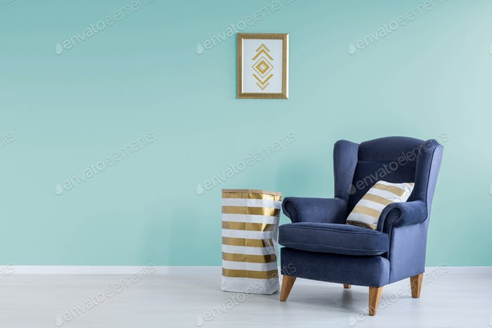 Room with mint wall