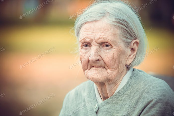 Portrait of pensive senior woman