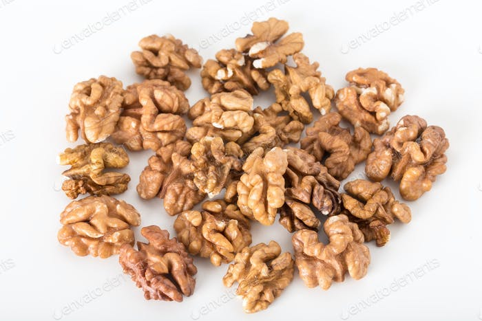 Heap of delicious walnuts.