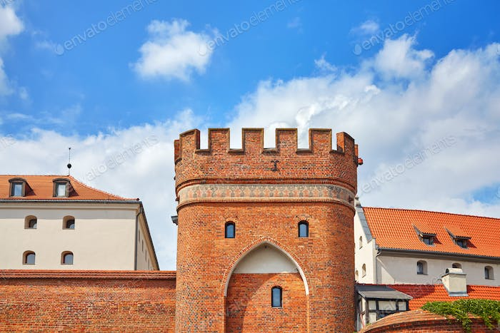 Bridge Gate to the Old Town in Torun, Poland.