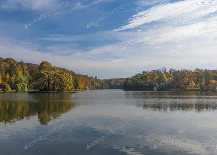 Autumn foliage with water reflection natural landscape