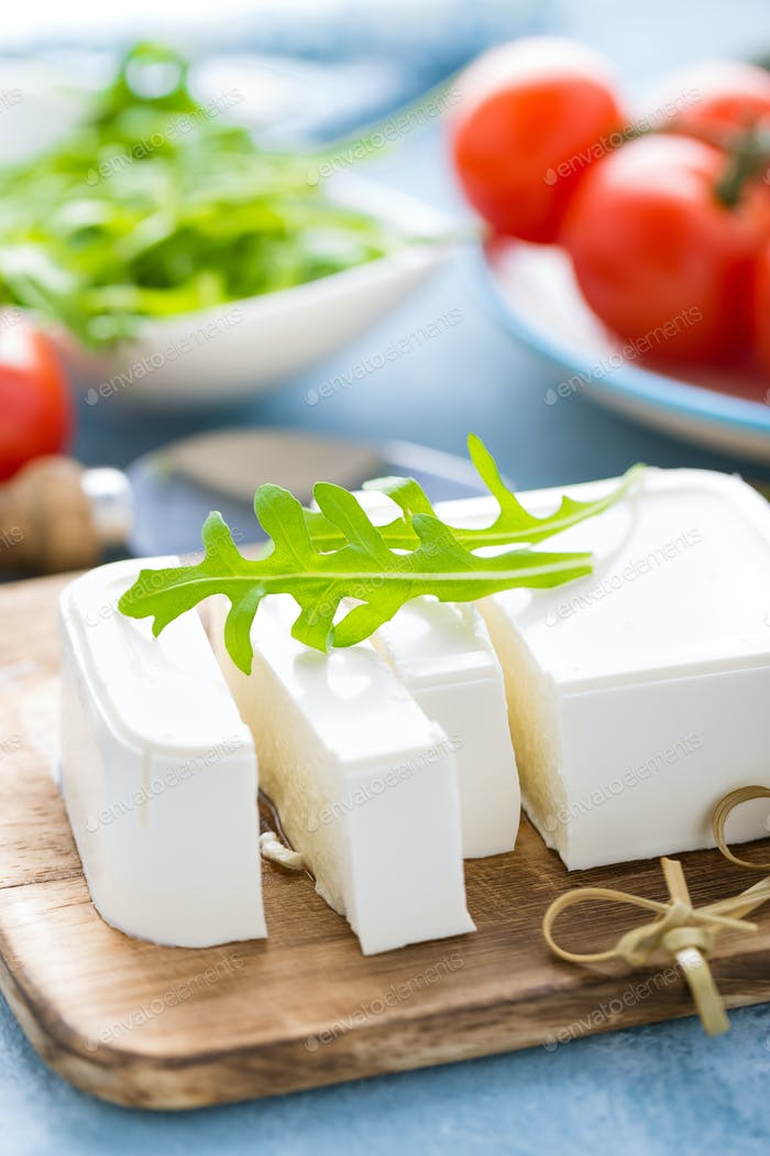 Feta cheese on board