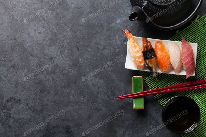 Set of sushi and green tea