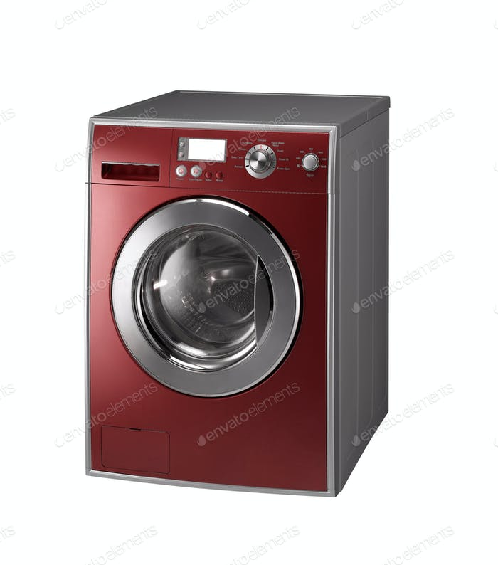 Red Isolated washing machine