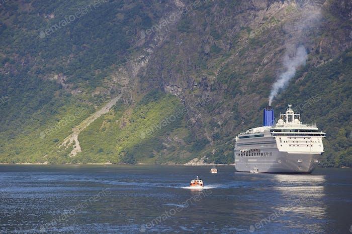 Norwegian fjord landscape. Cruise travel. Visit Norway. Tourism
