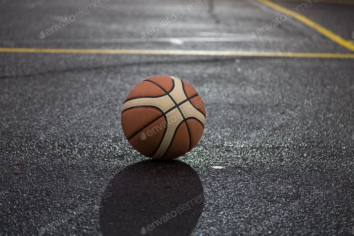 Ball for basketball on the court.
