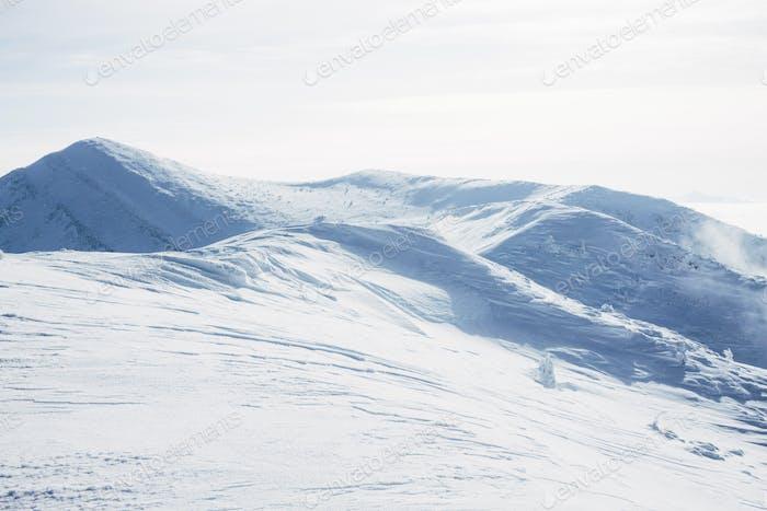 Ski slope in snowy Gorgany mountains