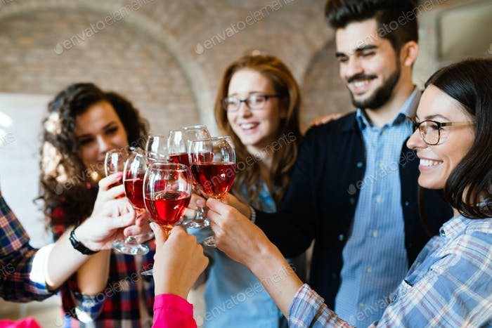 Picture of successful business team having celebration