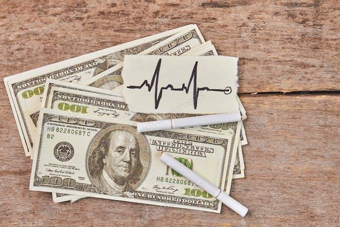 American money, cigarettes, heartbeat image