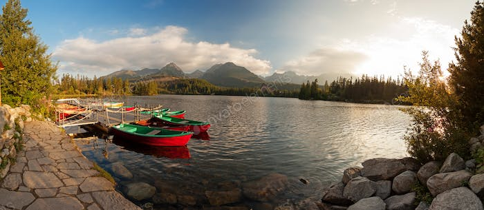 Boat station on lake Strbske pleso near High Tatra Mountains