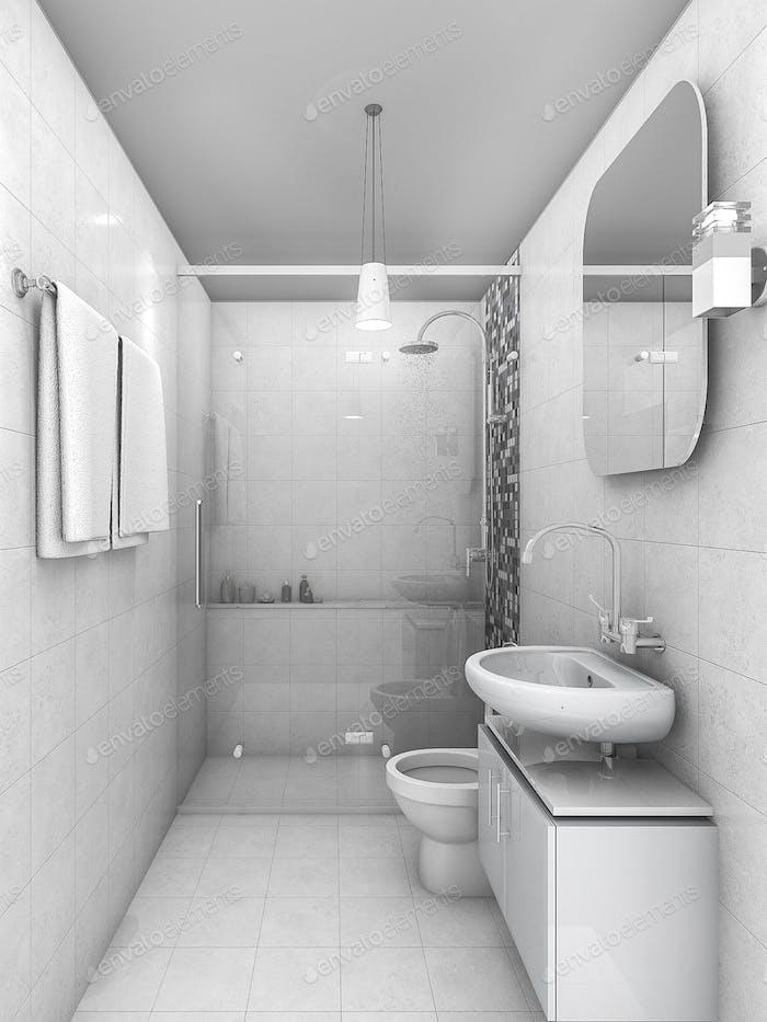 3d rendering white tone minimal ad small bathroom