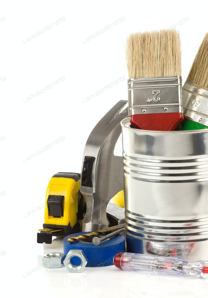 tools and box isolated on white