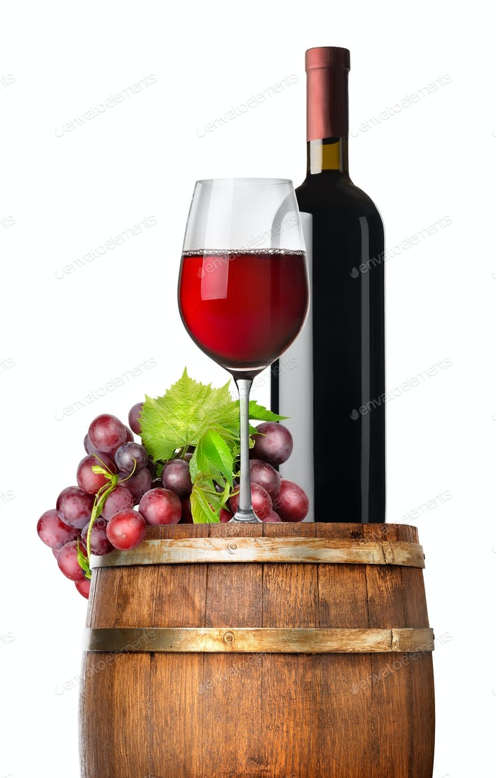 Grape and wine on a barrel