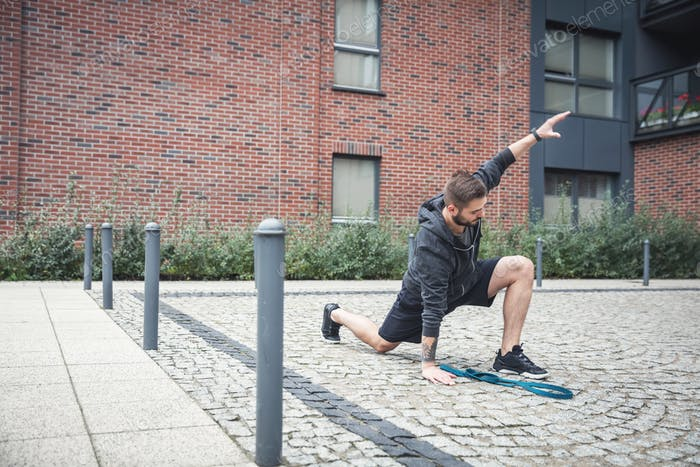 Streching. Urban outdoor activities.