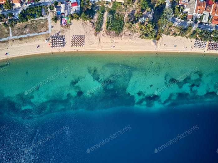 Beautiful beach top aerial view drone shot