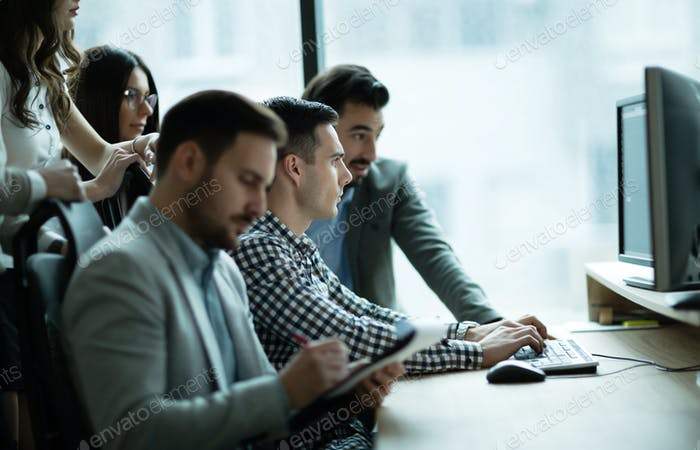 Business colleagues at company workplace
