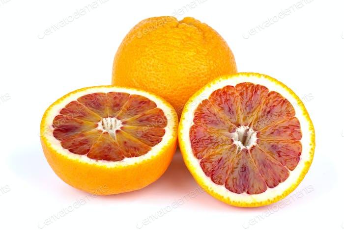 Blood (red-pulp Malta) orange and halves