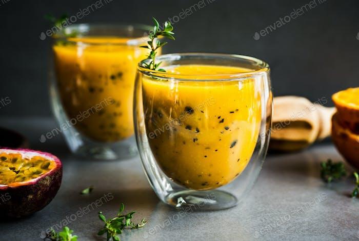 Mango Orange Passion fruit smoothie