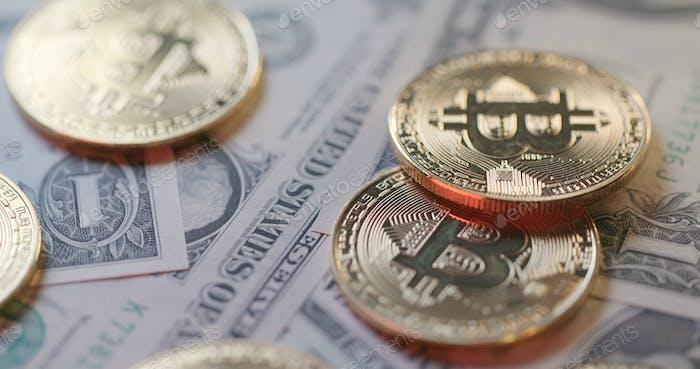 Concepto de tipo de cambio entre USD y Bitcoin