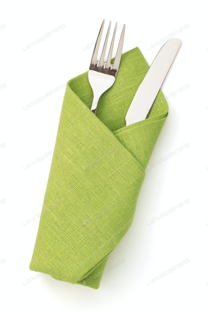 napkin, fork and knife isolated on white