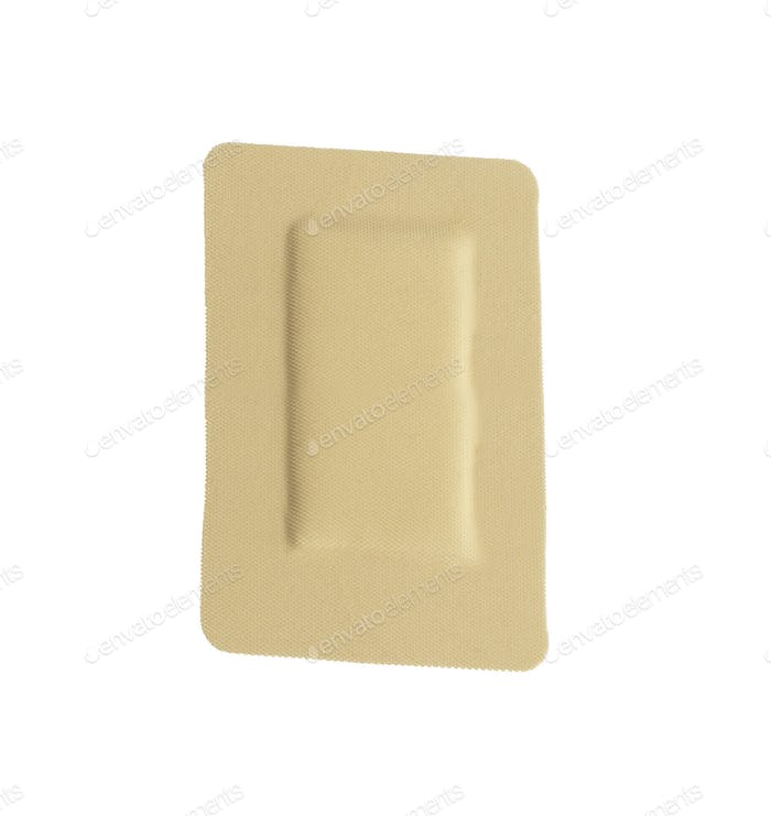 Square adhesive bandage isolated on white