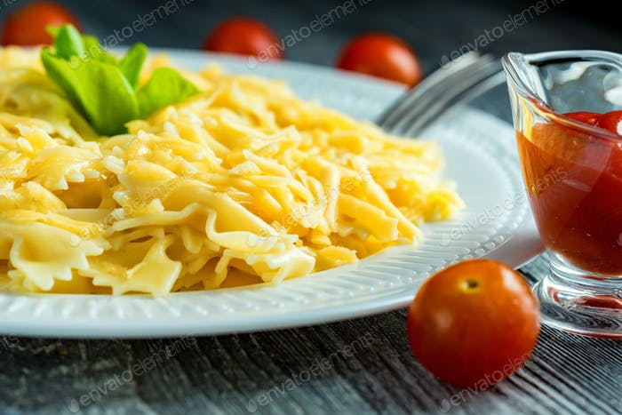Traditional Italian pasta or fussili with cheese